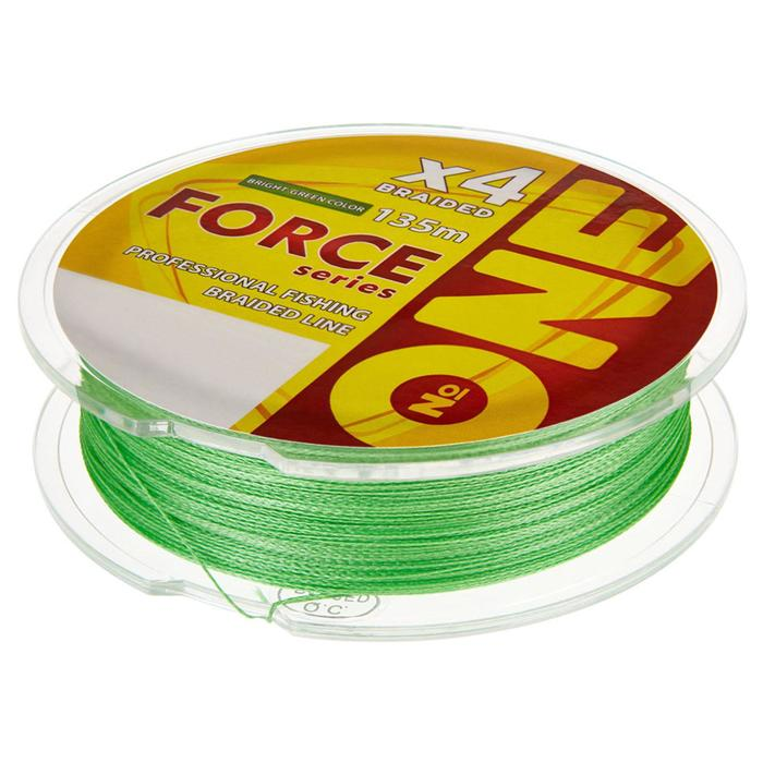 Плетёная леска №ONE FORCE Х4-bright green, 135 м